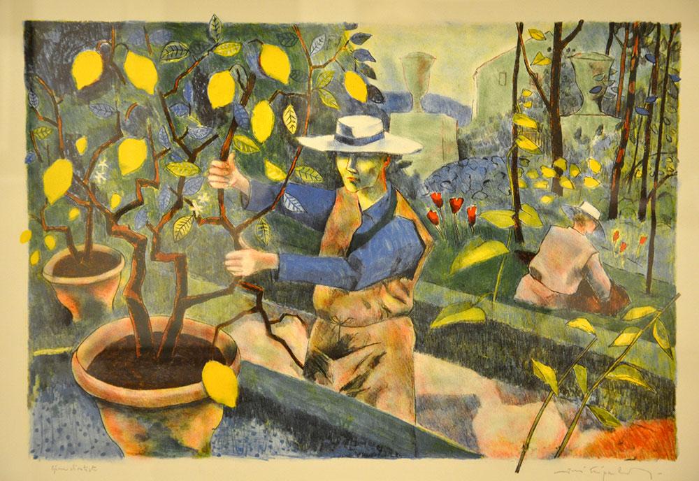 """""""Italiensk trädgård"""". Litografi av Jussi  Taipaleenmäki. 49x65 cm. ©JT BUS 18"""