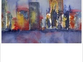 """""""Skyline"""". Akvarell av Carina Hååg. 32x42cm."""