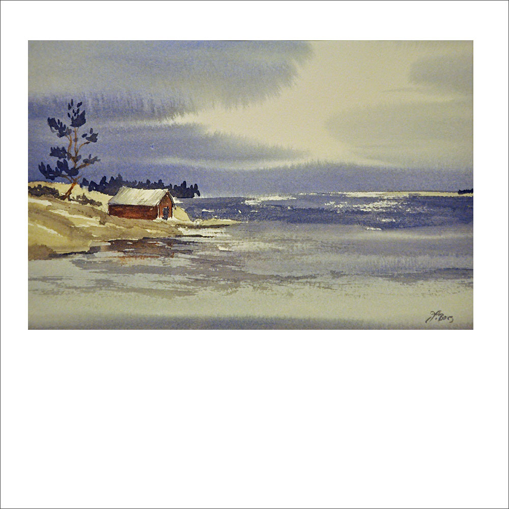 """""""Sjöbod i Roslagskusten"""". Akvarell av Jessica Berg. 32x42cm."""