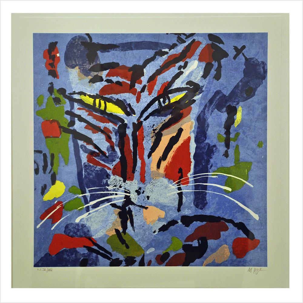 """Tiger"". Litografi av Madeleine Pyk. 44x46 cm. ©MP BUS 18"