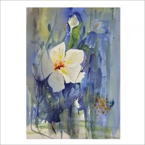 """""""Min förtrollade trädgård"""". Akvarell av AnnSofi Pettersson. 43x53 cm."""