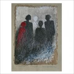 "13. ""Styrelse"". Collografi av Lilian Gambiale. 33x23cm."