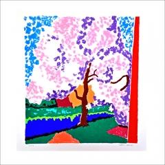 """1. """"Blommande fruktträd"""". Litografi av Gunnar Larsson. 31x27cm. © GL BUS"""