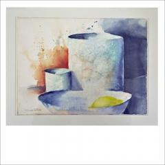 """3. """"Stilleben med citron"""". Akvarell av Marita Möller. 29x38cm."""