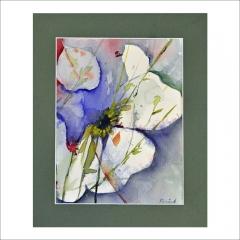 """4.""""Blomstermotiv"""". Akvarell av Karin Enqvist. 20x15cm."""