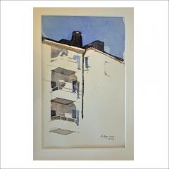 """5. """"Skuggor och ljus"""". Akvarell av Anna Asp. 17x11cm."""