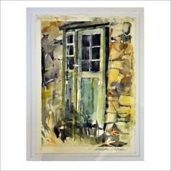 """7. """"Trädörr grön"""". Akvarell av Frida Lorén. 26x19cm."""